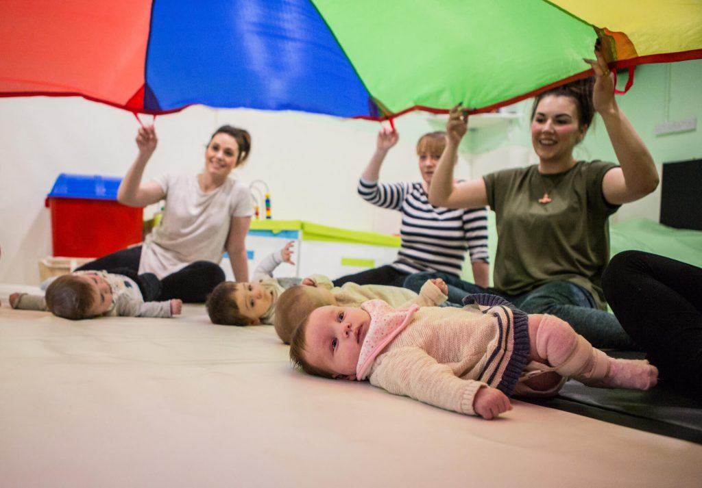 Party and Play Funhouse Bolton Baby Sensory Classes Parachute Play